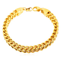 Gold Cuban Chain For Thick Men Bracelets With 18K Real Gold Plated 2015 New Rock Stainless