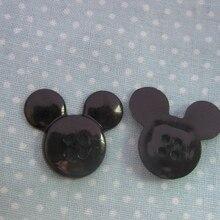H099 модные пластиковые кнопки черный в форме Микки мультфильм кнопки 50 шт. ремесло кнопки