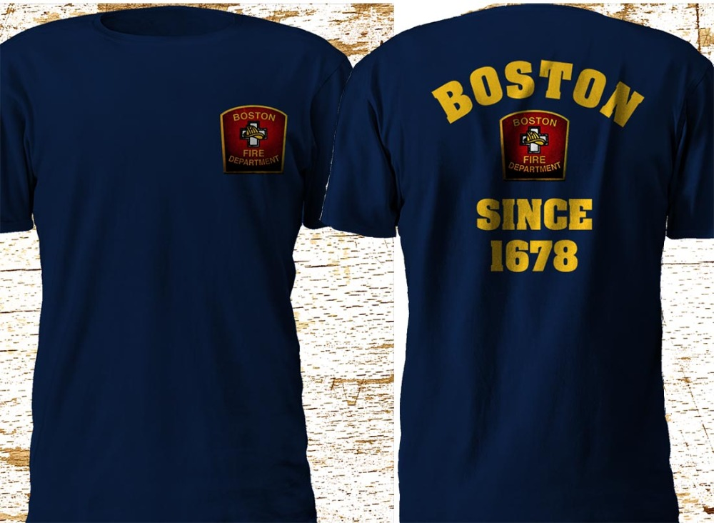 New Boston City <font><b>Massachusetts</b></font> Fire Department Firefighter Navy Newest 2019 Men'S Fashion Summer Short Sleeves Cotton T Shirts image