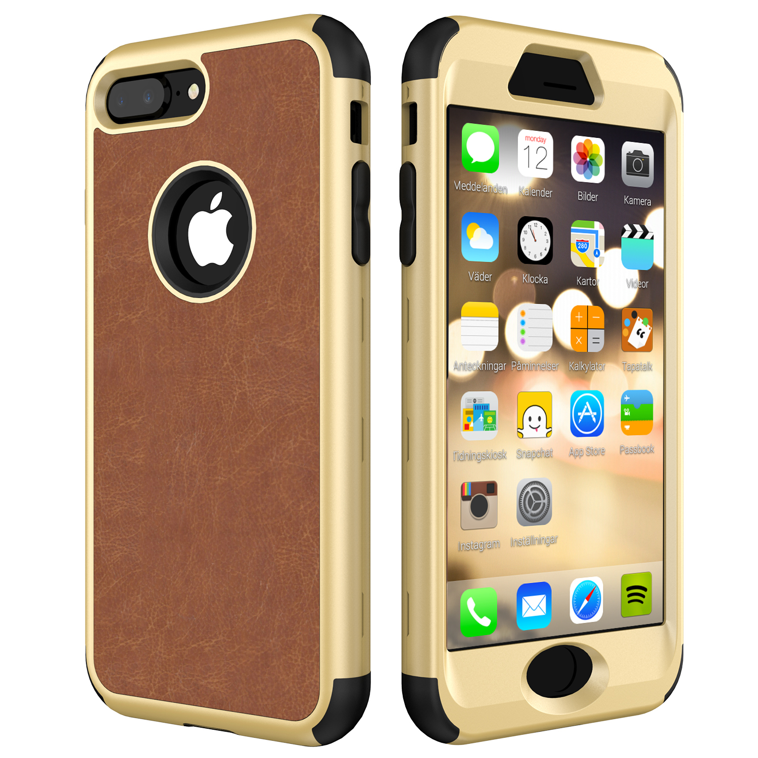 For iPhone 7 8 6 6S Plus Luxury Case Premium PU Leather Cover for iPhone 7 Full Body Protect Soft Silicone+PC Hyrbrid Phone Case