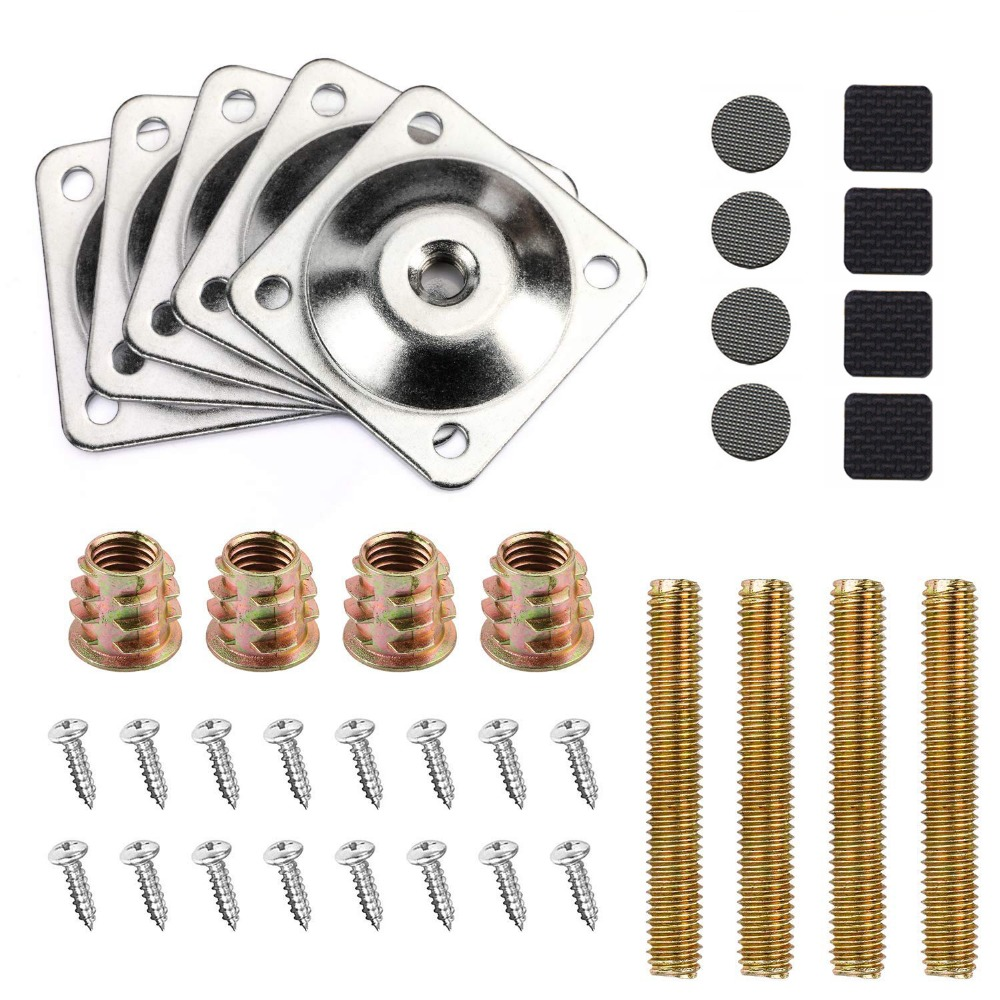 Leg Mounting Plates, Furniture Leg Attachment Plates With Hanger Bolts Screws Adapters For Furniture Sofas Couches Seats, 4Set