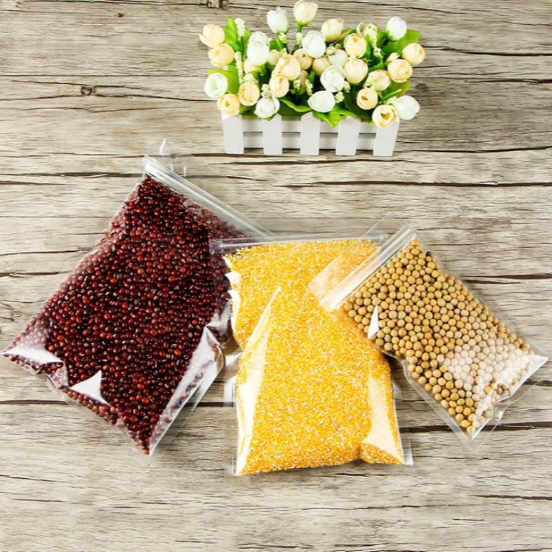 Ferimo 100 pcs Transparent à fermeture automatique en plastique alimentaire sac composé alimentaire bonbons cadeau de stockage d'emballage sacs