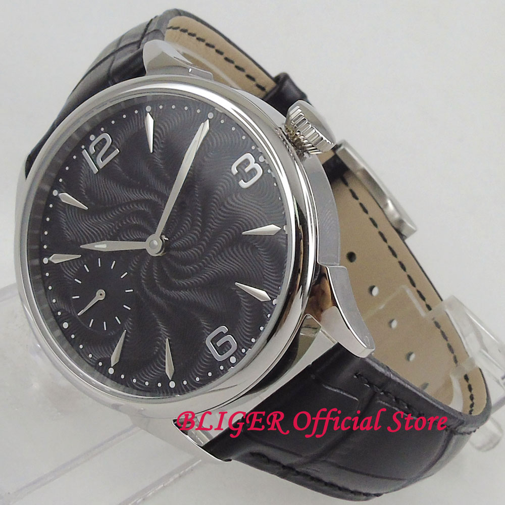 Vintage polished 44mm men's watch black dial silver hands Mechanical 17 Jewels 6497 Hand Winding Movement Men's Watch 1009 цена и фото