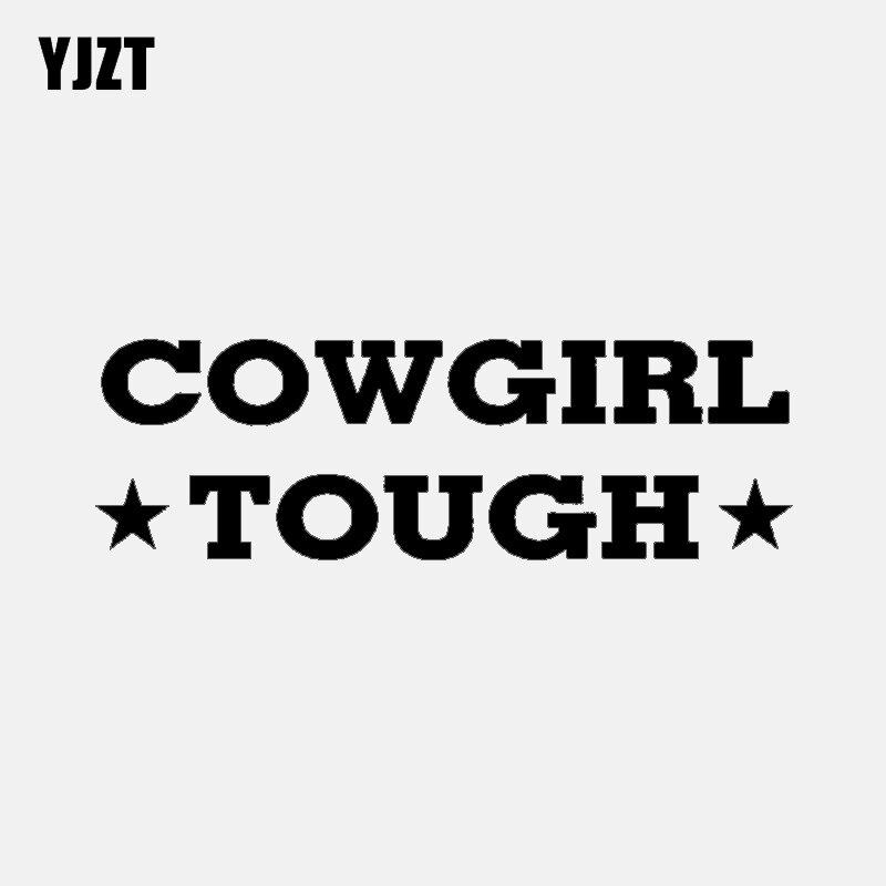 YJZT 16.2CM*5CM Wonderful Cowgirl Tough Vinyl Letters Car-styling Decal Car Sticker Black Silver C11-1564
