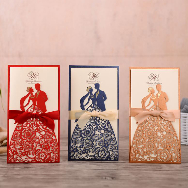 1pcs Bride And Groom Laser Cut Wedding Invitations Card Greeting Cards Customize Envelopes With Ribbon Wedding Party Supplies