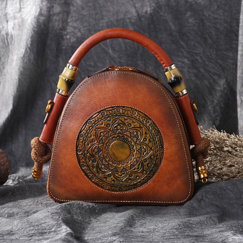 NIUBOA Original 100% Genuine Leather Bag Retro Cowhide Women Handbags Luxury High Quality Vintage Manual Crossbody Hobos Bags niuboa bag female women s 100
