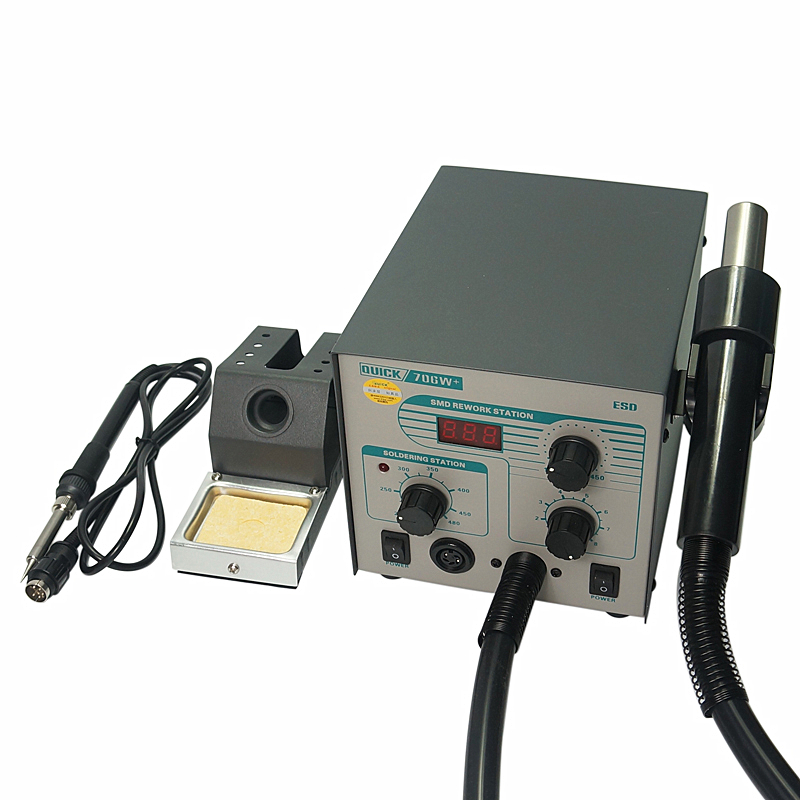 QUICK 706W+ Digital Display Hot Air Gun Electric Soldering Iron Anti static Temperature Lead free 2 in 1 Rework Station