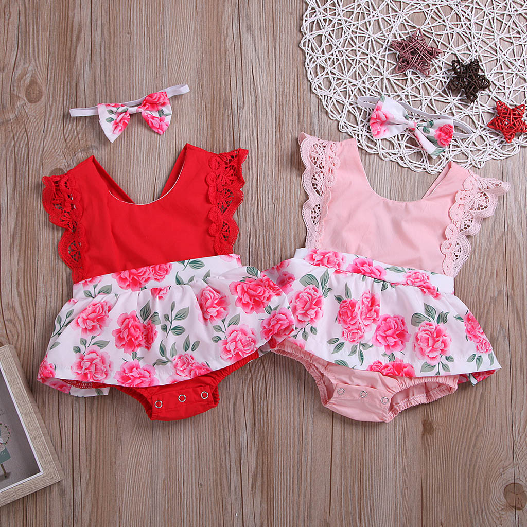 Newborn Baby Girl Romper Dress Headband Infant Toddler Sleeveless Floral Lace Jumpsuit Romper Suit New Clothes одежда для пупсов