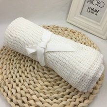 High Quality Baby Blankets Cotton Crochet Newborn Baby Blanket Cellular Blanket Autumn Casual Sleeping Bed Supplies Hole Wrap цена