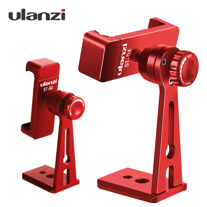 Ulanzi Adjustable ST-04 Tripod Mount Adapter Vertical 360 Rotation Phone Clipper Stand for iPhone X 8 7 Huawei Samsung Xiaomi