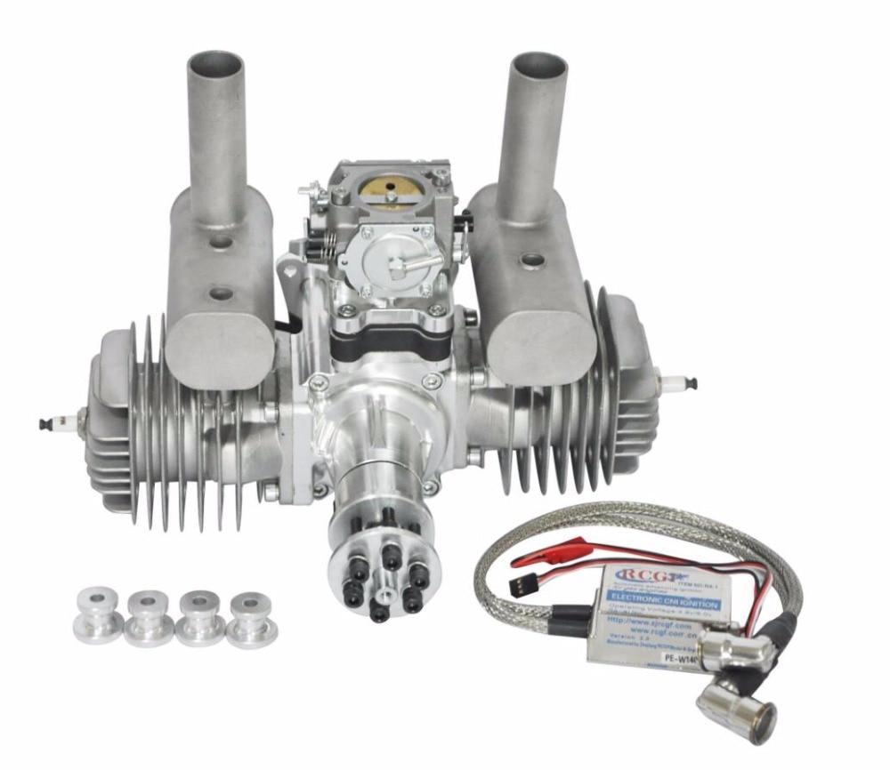 RCGF 120cc Twin Cylinder Petrol/Gasoline Engine Dual Cylinder with Muffler/Igniton/Spark Plug for RC Model Airplane xyz two cylinder 53cc gasoline engine petrol engine with walbro carburetor cm6 spark plug