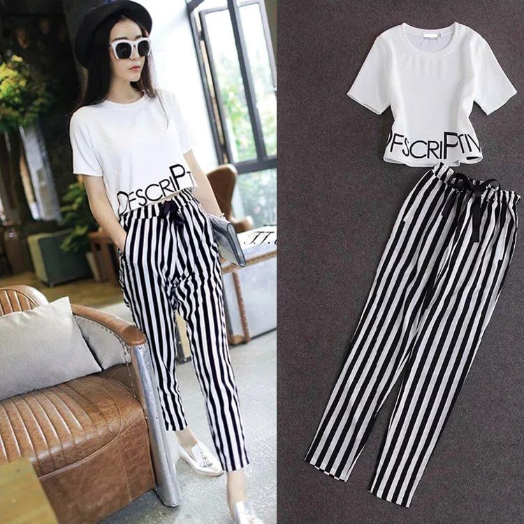 HTB1d96vxh9YBuNjy0Ffq6xIsVXaR - 2pieces summer set women tracksuit outfit casual lovely printing cotton letter short t-shirt tops+striped harem pants sweatshirt