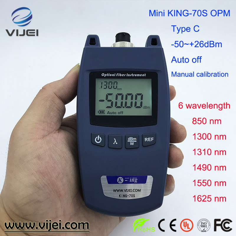 Mini  Optical Power Meter King-70S Type A OPM Fiber Optical Cable Tester -70dBm~+10dBm SC/FC Universal interface CMini  Optical Power Meter King-70S Type A OPM Fiber Optical Cable Tester -70dBm~+10dBm SC/FC Universal interface C