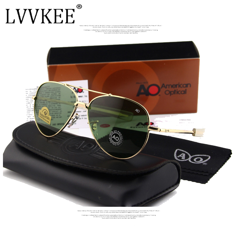 Classic Army MILITARY AO Sunglasses American Optical Glass Lens Alloy Frame mens Brand Design Sun glasses original Case logo