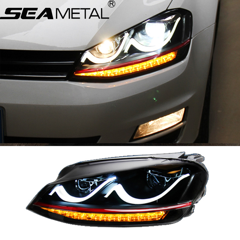 Car Headlight For Volkswagen VW Golf 7 2012 2013 2014 Bifocal lens Light Guide DRL Daytime Running Lights Head lights Auto Lamps стоимость
