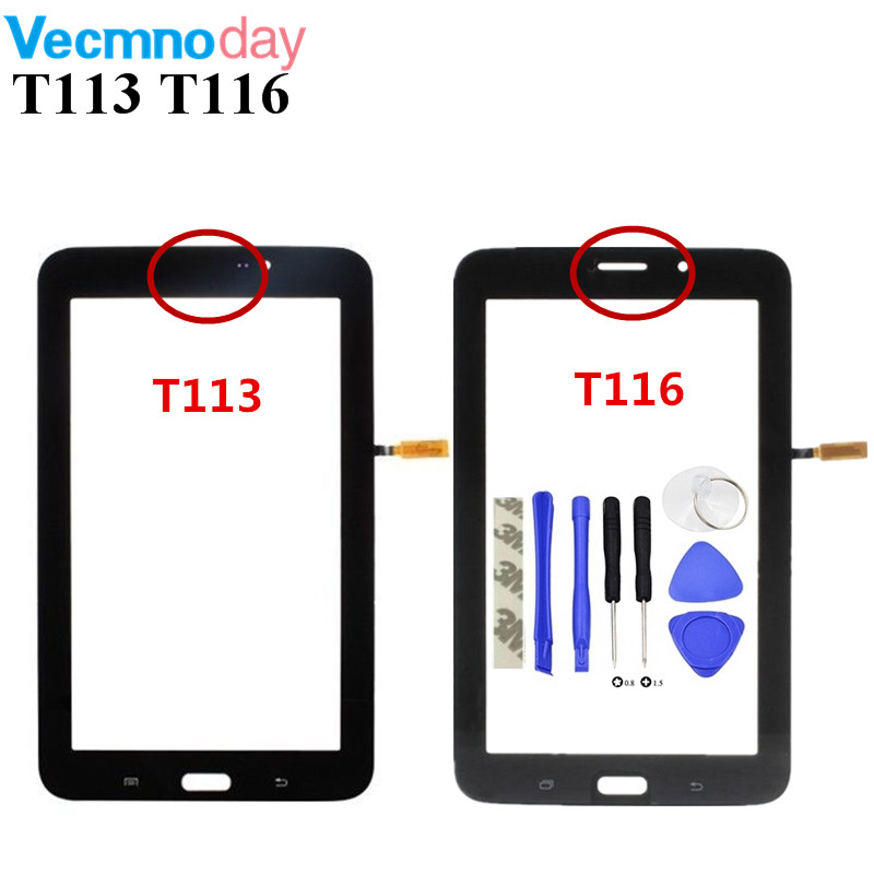 Vecmnoday Touch Screen For Samsung Galaxy Tab 3 Lite SM-T113 T116 Touch Panel Digitizer Sensor Glass Lens With Tools