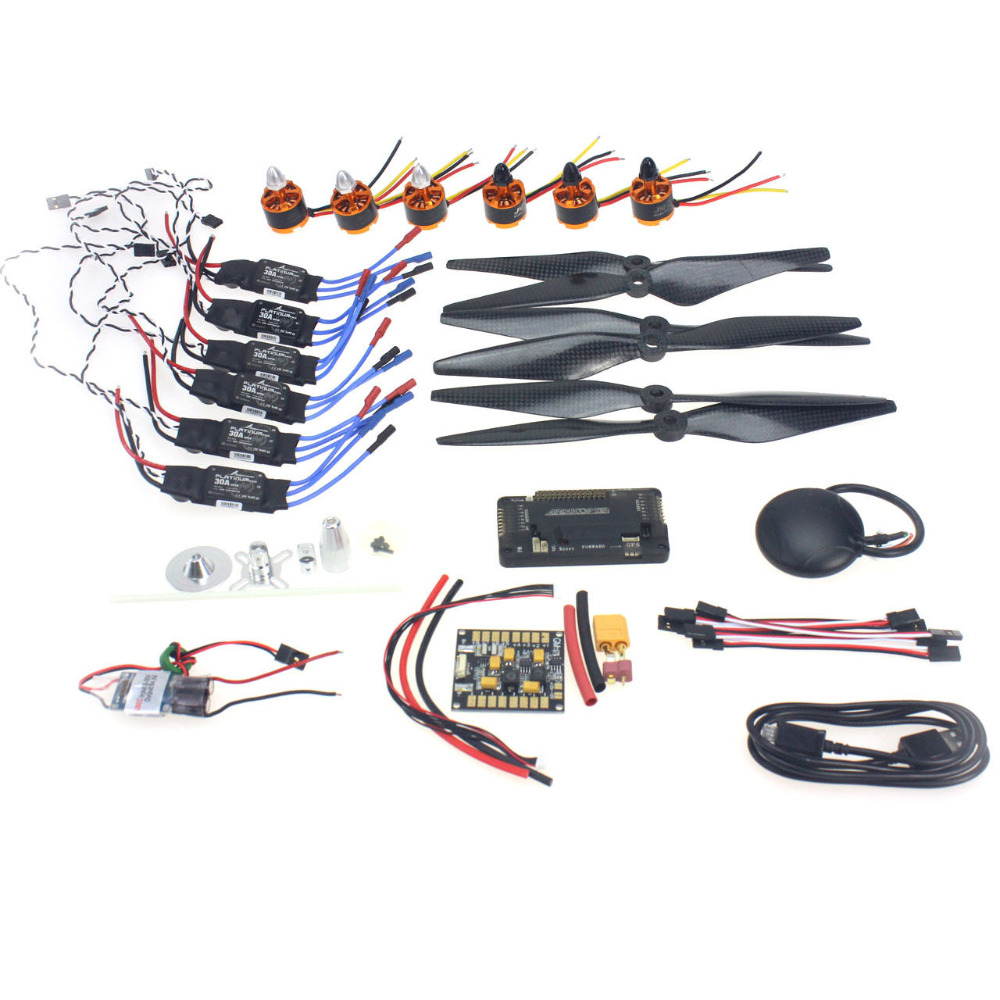 F15843-G Necessity kits : Motor + ESC+ Props + APM2.8 + GPS for 550 6-Aix RC Drone Quadcopter Hexacopter Multi-Rotor Aircraft f15843 j k l 4 aix helicopter accessories kit with apm 2 8 gps for 450 4 aix rc drone quadcopter hexacopter multi rotor aircraft