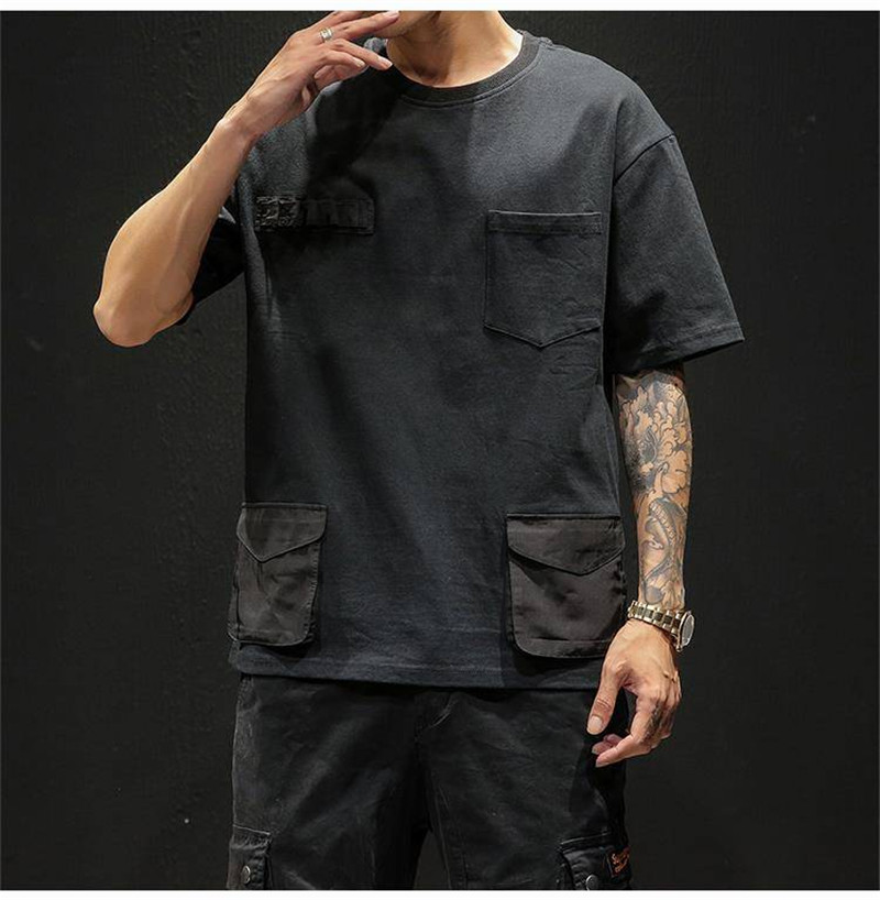 Hip Hop T-shirts Men With pockets Harajuku Oversized Tops Tee Japan Tshirt Streetwear Casual Solid High Street T Shirts Boy 46