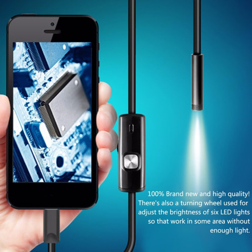 Black 6LEDs 1M/7mm Lens Endoscope Camera Waterproof Inspection Borescope Camera for Android PC Phone & Notebook Device