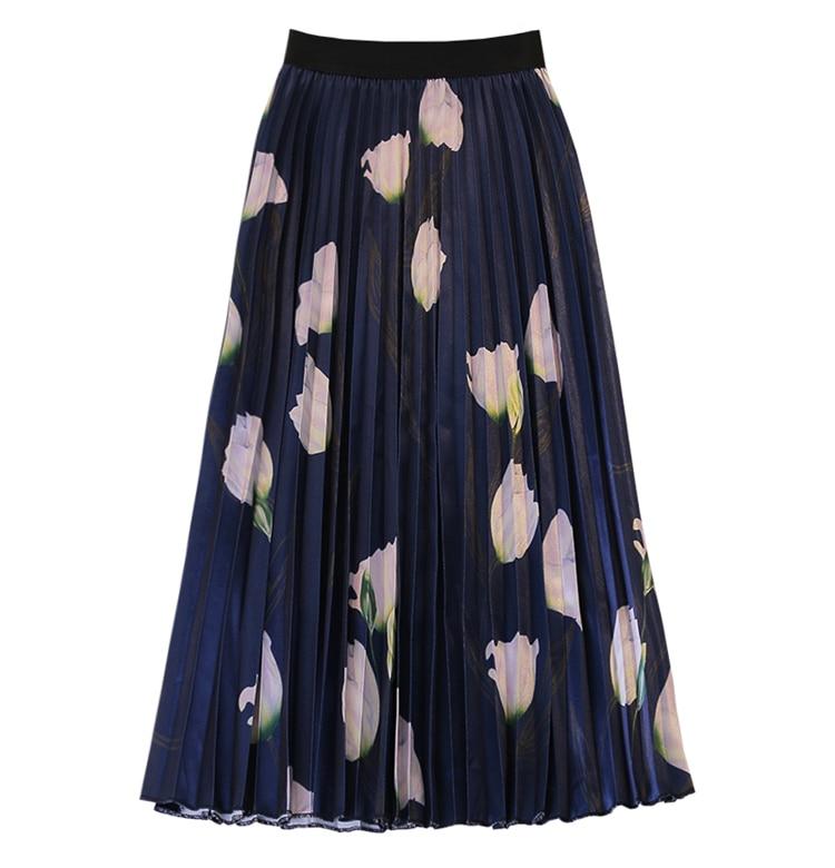 Faldas Negro Mujer Cintura Moda Verano Falda Alta Y De Ternero Mujeres azul Primavera Damas blanco Impresión Paraguas Flor 2019 Mediados Casual Las Elegante wHxpXR