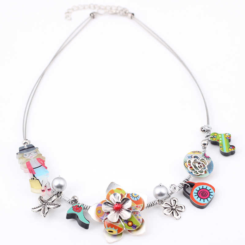Bonsny Cute girl New 2016 Spring style iron flower necklace fashion necklace & pendant for girls woman lovely chain necklace