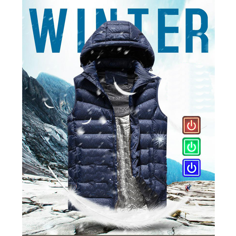 Men Winter Outdoor Heated  USB Work Hooded Heating Sleeveless Jacket Coats Adjustable Temperature Control Safety Clothing DSY005 thumbnail