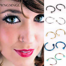 WNGMNGL New Fashion 5Pcs Stainless Steel Nose Open Hoop Body Piercing Studs 8mm 5 Colors For Women Men Small Thin Jewelry