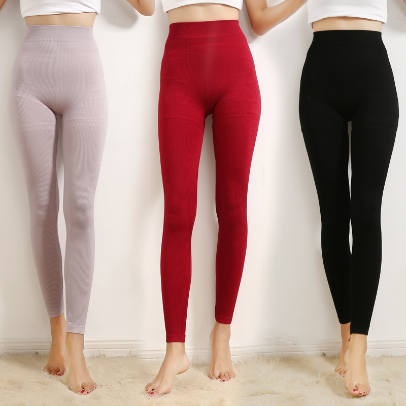 Winter 2019 Women Leggings Thermal Bottoms Sleep Bottoms Solid High-Rise Rib Stretchy Elastic Waist ropa mujer invierno B88191
