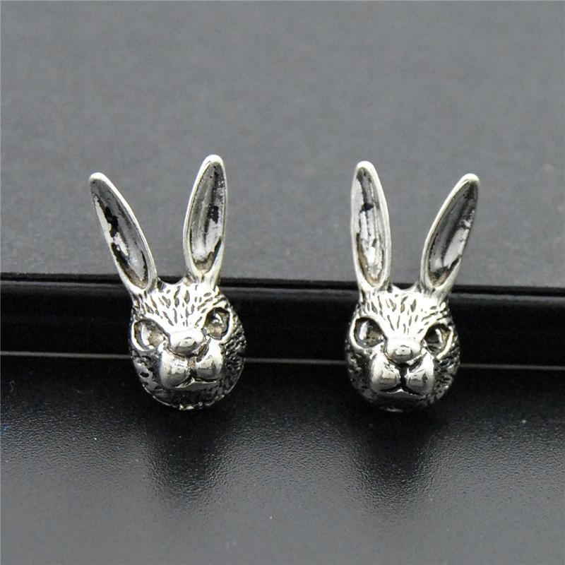 Rabbits Head Charm Tiny Sterling Silver Charms Rabbit