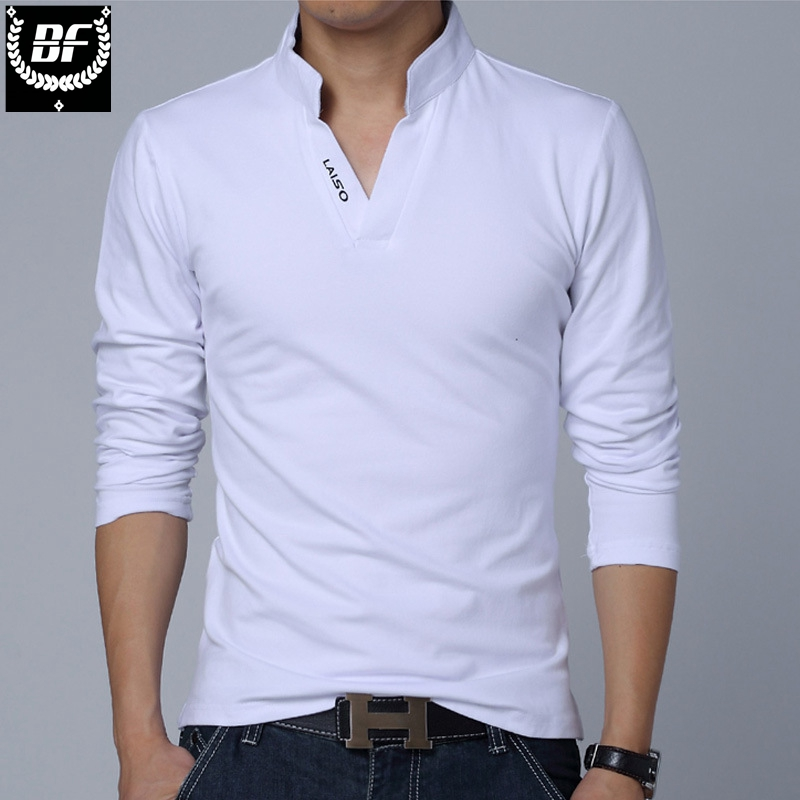 BF Men Solid Cotton   POLO   Long Sleeve Muscle Slim Fit V Neck Letter LAISO Print Srping Autumn Top Tees Plus Size