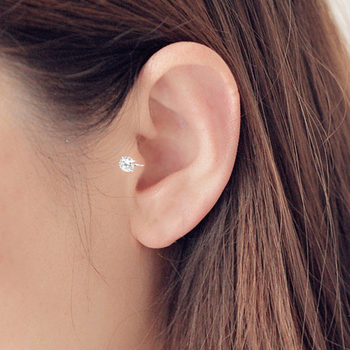 Top Quality AAA Cezch Zircon Silver Filled Tragus Non Piercing Clip Earring 2