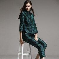 Высококачественный осенне зимний женский костюм, искусственный шелк, винтажный цветочный тонкий жаккардовые пальто + укороченные штаны, ко