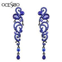 OCESRIO Fashion Angel Wings długie kolczyki z kamieniami Blue Crystal Punk Gothic kolczyki dla kobiet biżuteria w stylu Vintage ers-h70