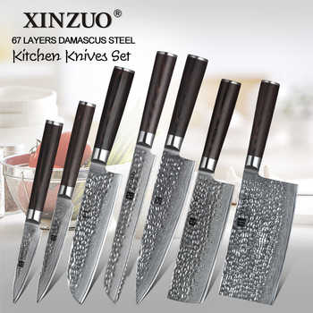XINZUO 7 PCS Pro Kitchen Knife Set Japanese Style Kitchen knives Meat Cleaver Fruit Paring Knife Damascus Steel Chef Knife Set - DISCOUNT ITEM  40% OFF All Category