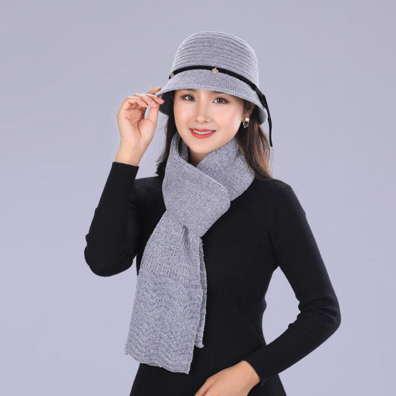 Autumn Winter Basin Hat For Women Solid Color Rabbit Fur Bow Knitted Hats Ladies Thick Warm Cap scarf Boina Feminina