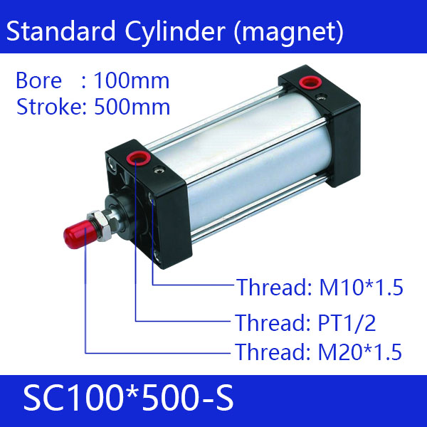 SC100*500-S Free shipping Standard air cylinders valve 100mm bore 500mm stroke single rod double acting pneumatic cylinder sc100 100 free shipping standard air cylinders valve 100mm bore 100mm stroke single rod double acting pneumatic cylinder