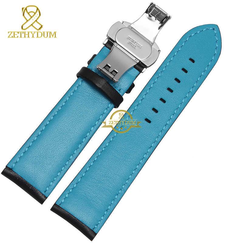 ของแท้หนัง Charm สร้อยข้อมือหนังกีฬานาฬิกา 20 22 มม.นาฬิกาข้อมือบุรุษวงเข็มขัดสีดำสีฟ้าสีแดงเย็บ