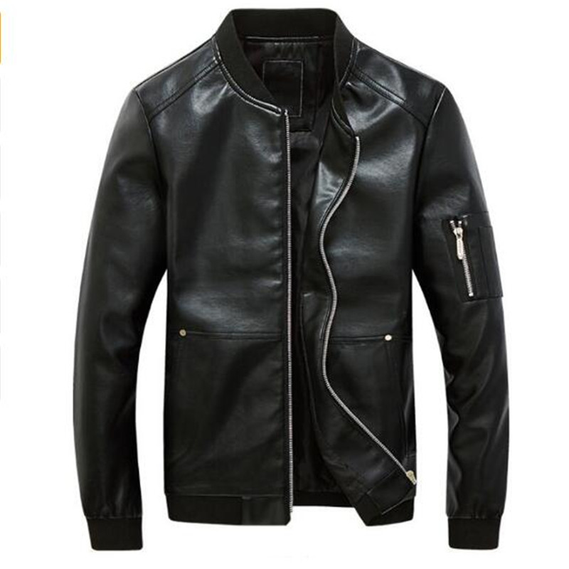 2018 Plus Size 5XL Mens Leather Jackets Faux Leather Overcoats Mandarin Collar Bomber jacket For Mens