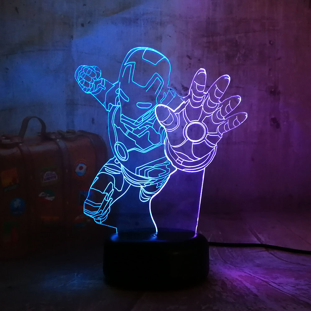 Led Night Lights Hot Sale Christmas Gift Marvel Iron Spider Man$batman Rgb Night Light Atmospere 3d Led Mix Color Lamp Children Baby Room Decor Kid Toy Lights & Lighting