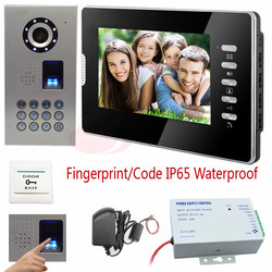 Wired video door phone fingerprint recognition password unlock home video intercom ccd 700tvl camera doorphone ip65.jpg 250x250