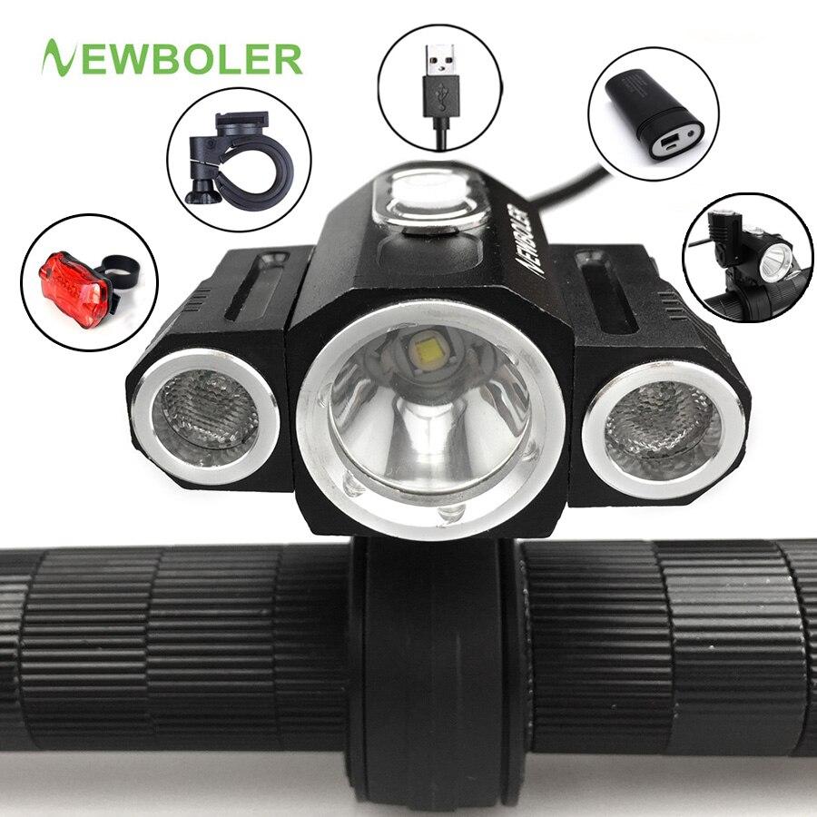 NEWBOLER 10000LM 3x XML T6 LED 4,2 v Einstellen angle Vor fahrrad licht USB Bike Lampe Scheinwerfer mit Batterie + Rückseitige Rücklicht Set