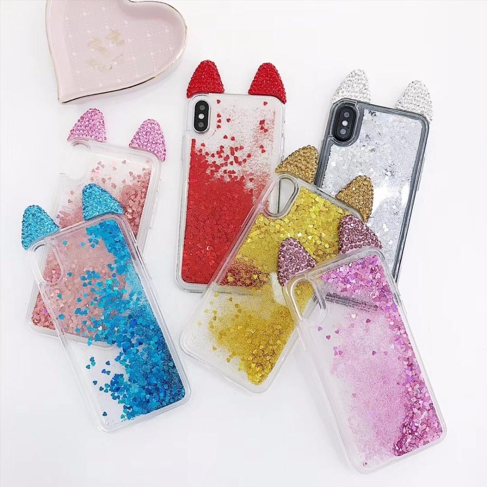 С кристалалми и стразами Cat жидкости сверкающих блестящими песка ТПУ чехол для iPhone 6 Bling Drift Песок чехол для iPhone 6S плюс