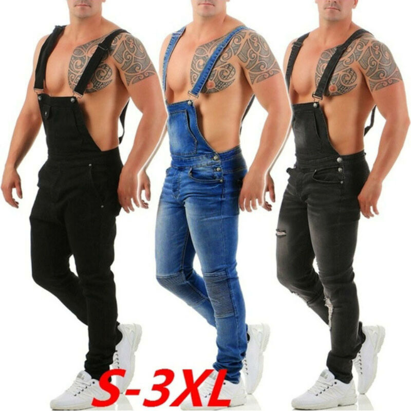 Men Denim Dungaree Overalls Painters Bib Jumpsuits Slim Fit Ripped Jean Pants UK
