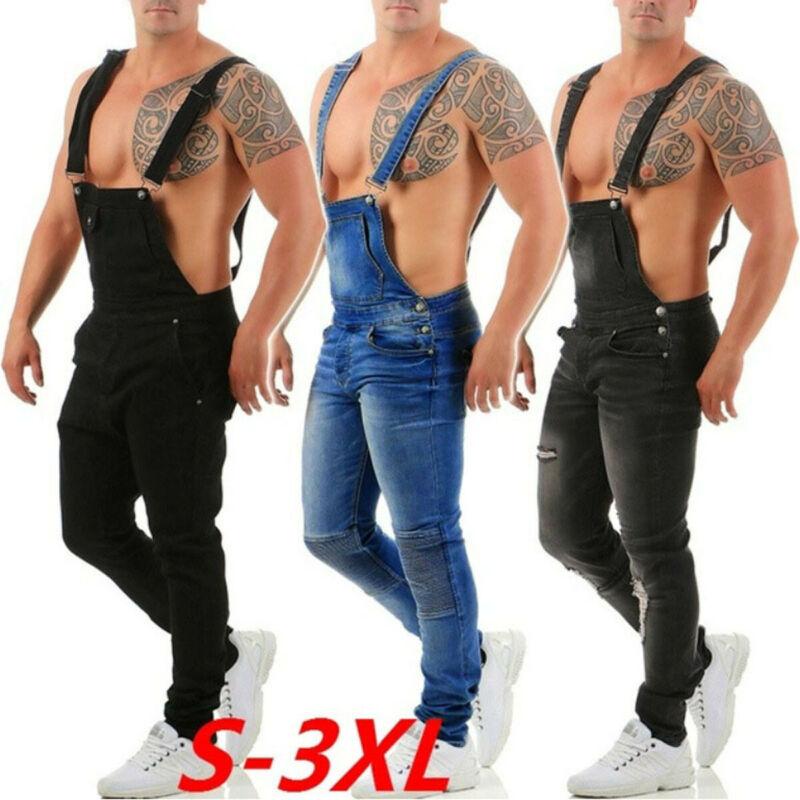 Men Denim Dungaree Overalls Painters Bib Jumpsuits Slim Fit Ripped Jean Pants UK
