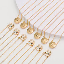 ZHOUYANG Necklace For Women Letter A-Z Simple Style Circular Brand Light Gold Color & Silver Color Pendant Necklace Gift KAN024(China)