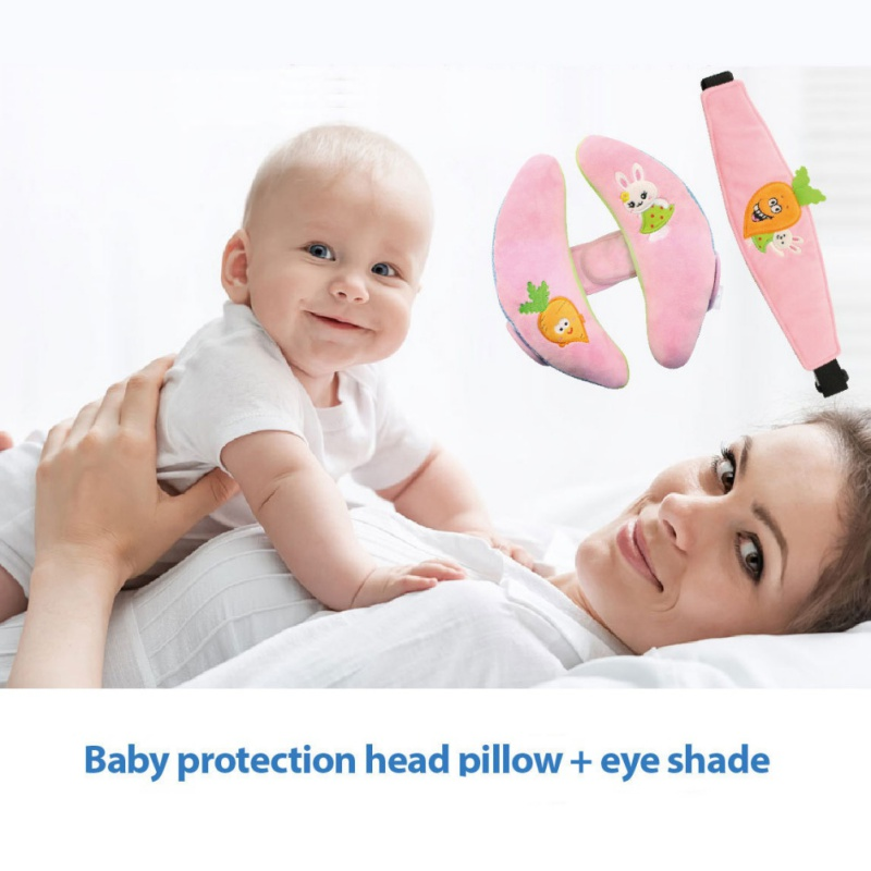 Baby Car Headrest + Eye Mask 2PCS Car Seat Accessories Crib Pendant Pure Cotton Comfort Baby Pillow Goggles