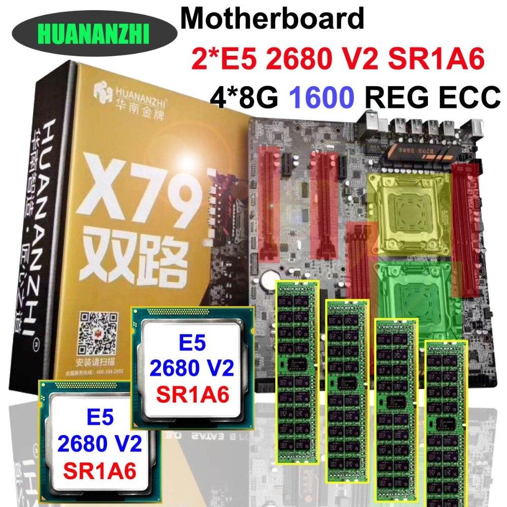 Скидка материнская плата HUANAN Чжи двойной Процессор X79 материнская плата с ЦПУ Intel Xeon E5 2680 V2 32G RAM ECC REG поддержка 4*32 г памяти