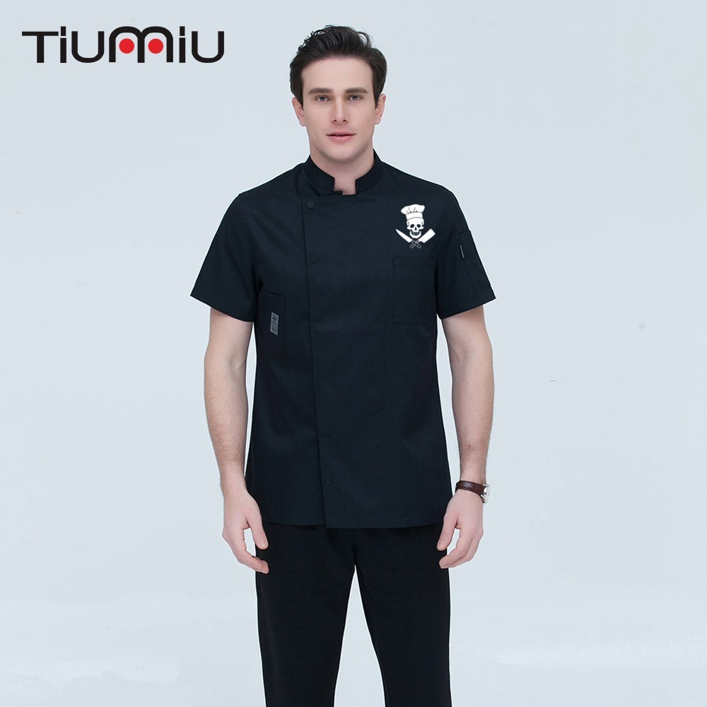 2019 New Short-sleeve Chef Jacket Waiter Uniforms Novelty Funny Skull Print Unisex Restaurant Hotel Kitchen Cook Shirt Overalls