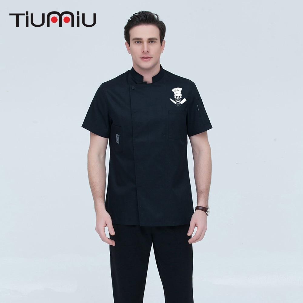 2019 New Short-sleeve Chef Jacket Waiter Uniforms Novelty Funny Skull Print Unisex Restaurant Hotel Kitchen Cook Shirt Overalls
