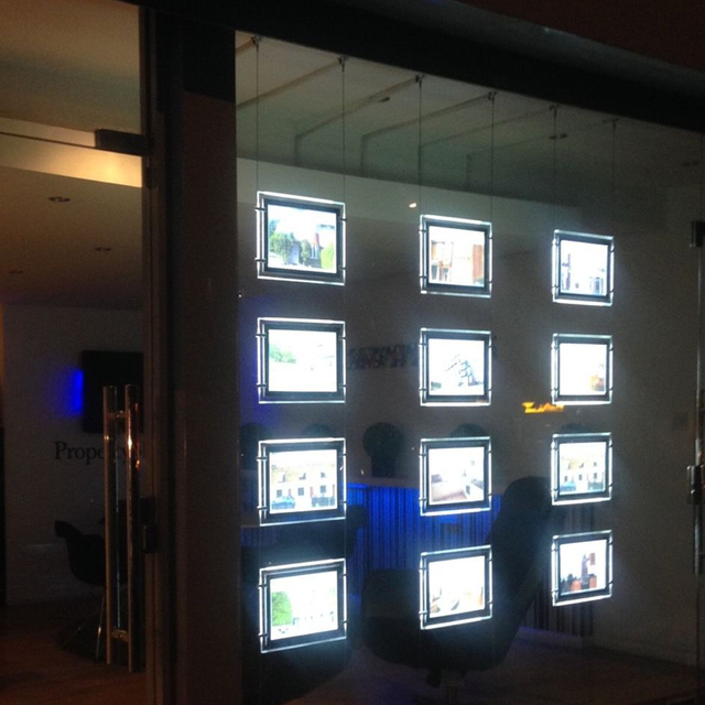 Rectangle Double Sided Slim Acrylic Frame Led Lighting Panel A3 Advertising Lightbox Estate Agent Window Display Signs